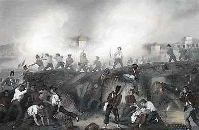 Storming of Ciudad Rodrigo on 19th January 1812 in the Peninsular War