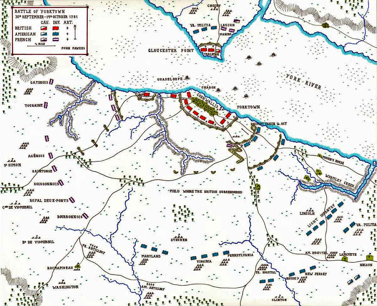 Map of the Battle of Yorktown 28th September to 19th October 1781 in the American Revolutionary War: map by John Fawkes