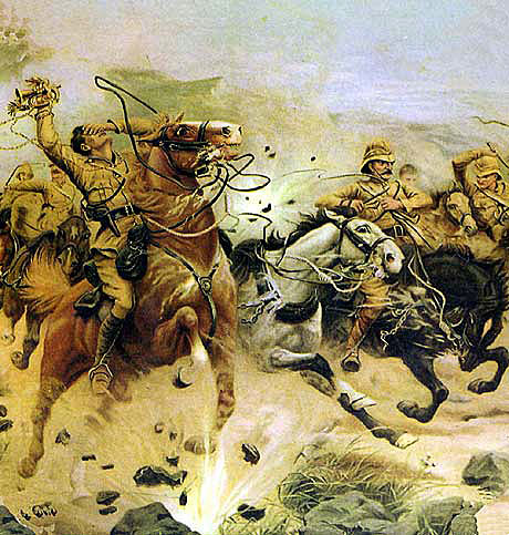 Attempting to save the guns at the Battle of Colenso on 15th December 1899 in the Boer War