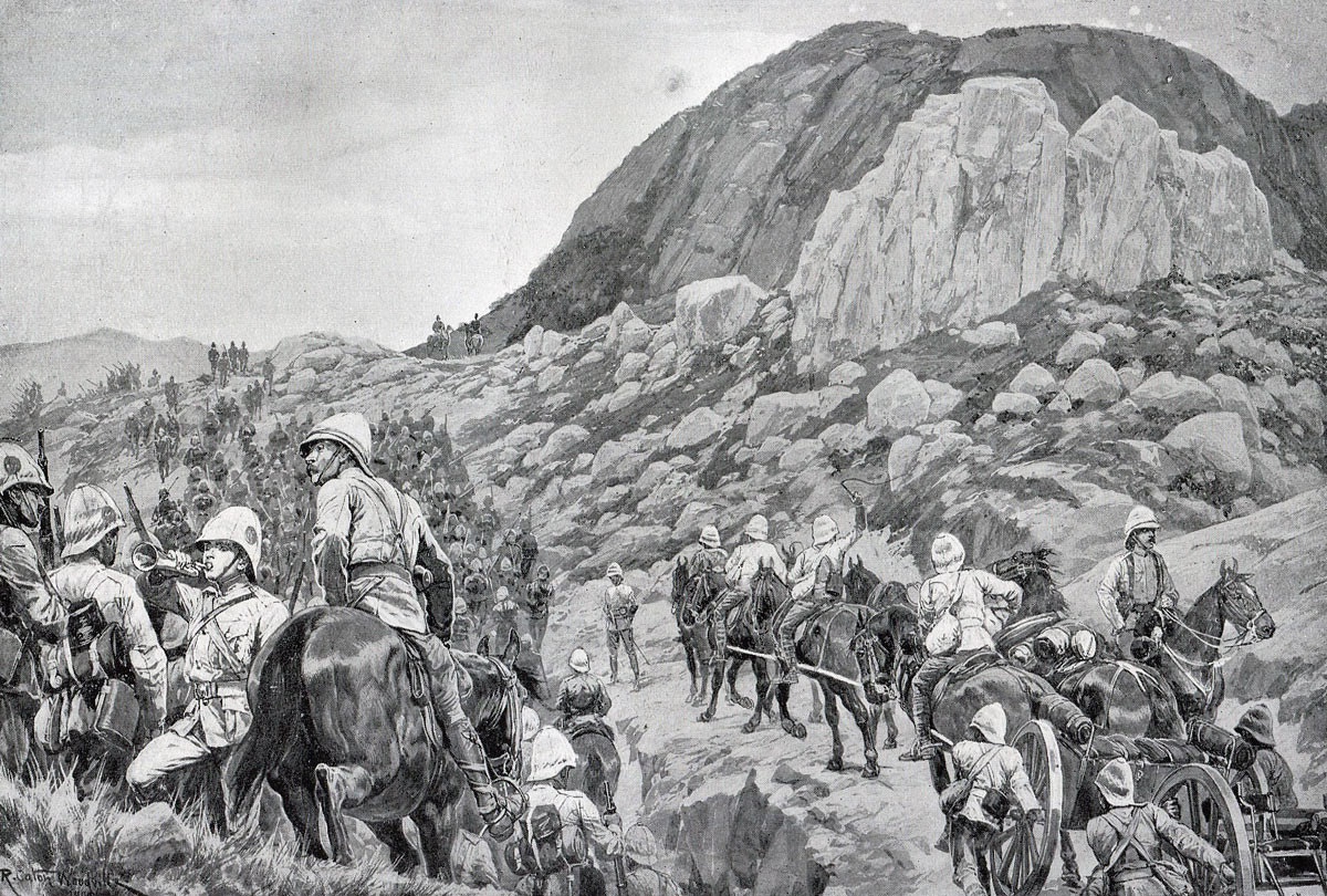 British advance up Spion Kop: Battle of Spion Kop on 24th January 1900 during the Great Boer War: picture by Richard Caton Woodville