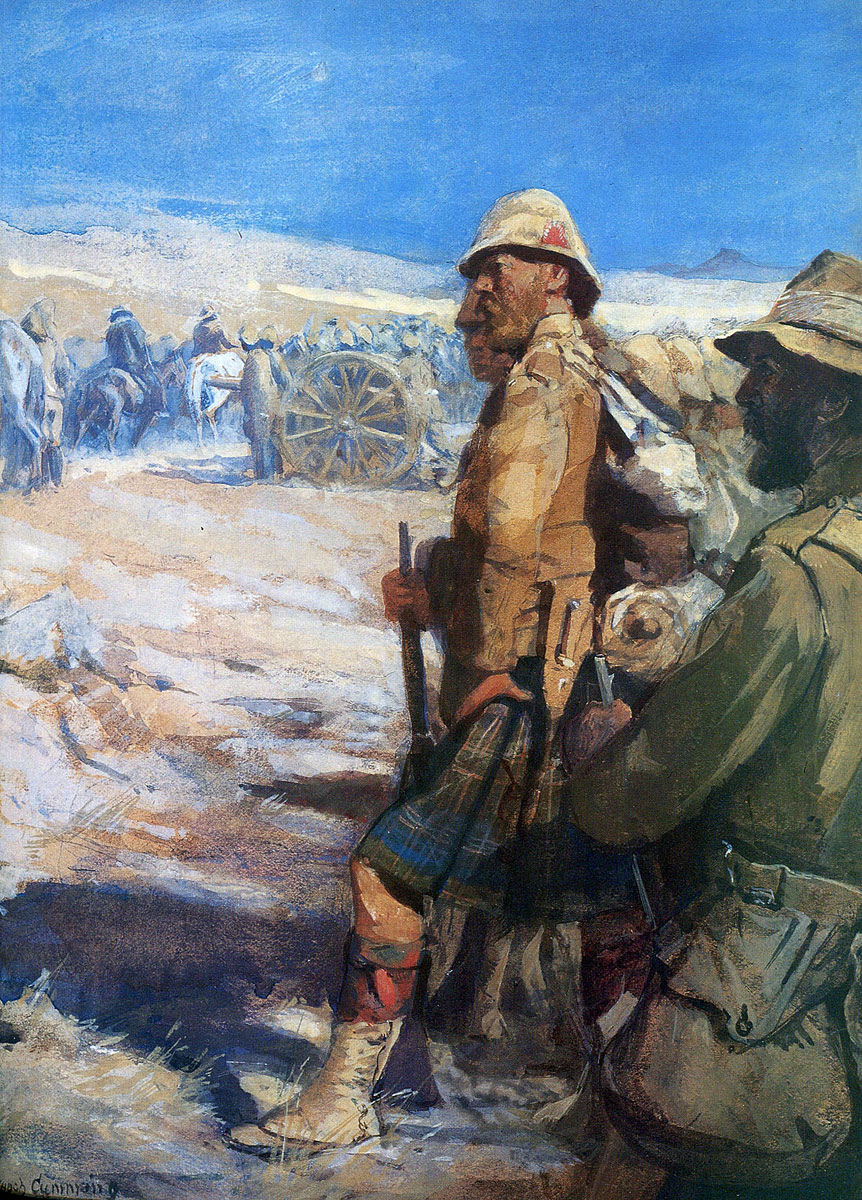 Highlanders at the Boer surrender: Battle of Paardeberg on 27th February 1900 in the Great Boer War: picture by Skeoch Cumming