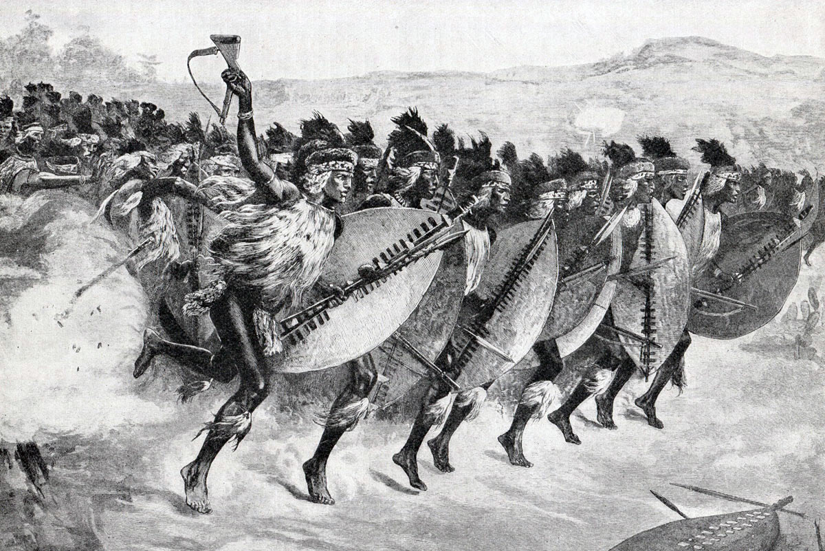 Zulu Attack at the Battle of Khambula on 29th March 1879 in the Zulu War