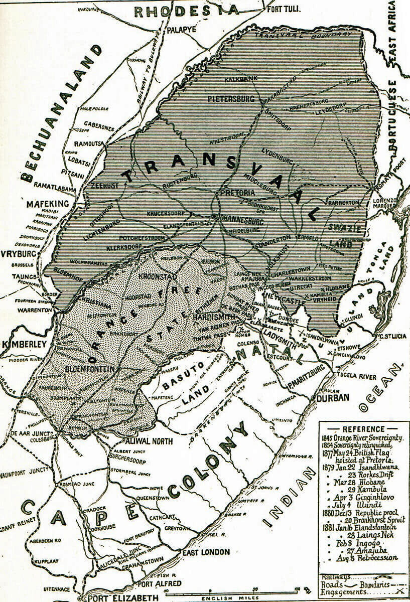 Map of South Africa: Methuen's march took place up the left side of the map: Battles of Belmont and Graspan in November 1899 in the Boer War