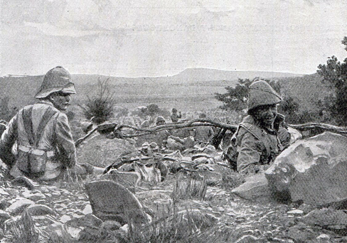 British troops waiting to attack at the Battle of Val Krantz on 5th February 1900 in the Great Boer War