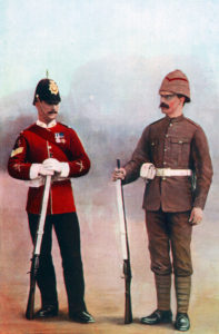 Gloucester Regiment Colour Sergeant in home service uniform and Private in uniform for service in South Africa in the Boer War