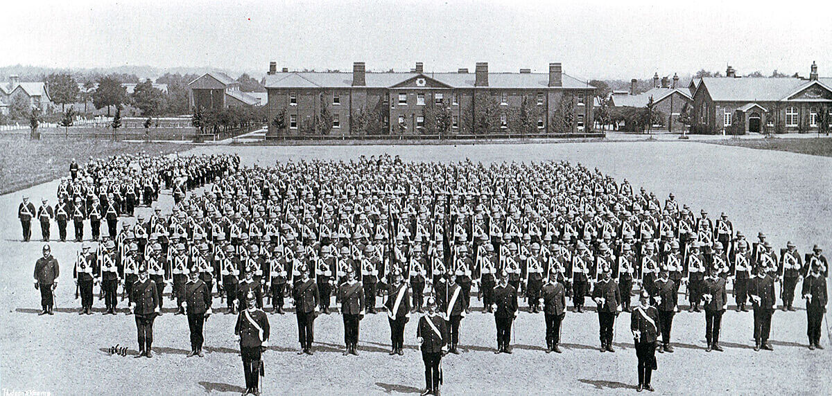 1st Manchester Regiment on parade in Britain before leaving for South Africa. 1st Manchesters formed part of Colonel Ian Hamilton's brigade at the Battle of Ladysmith on 30th October 1899 in the Boer War