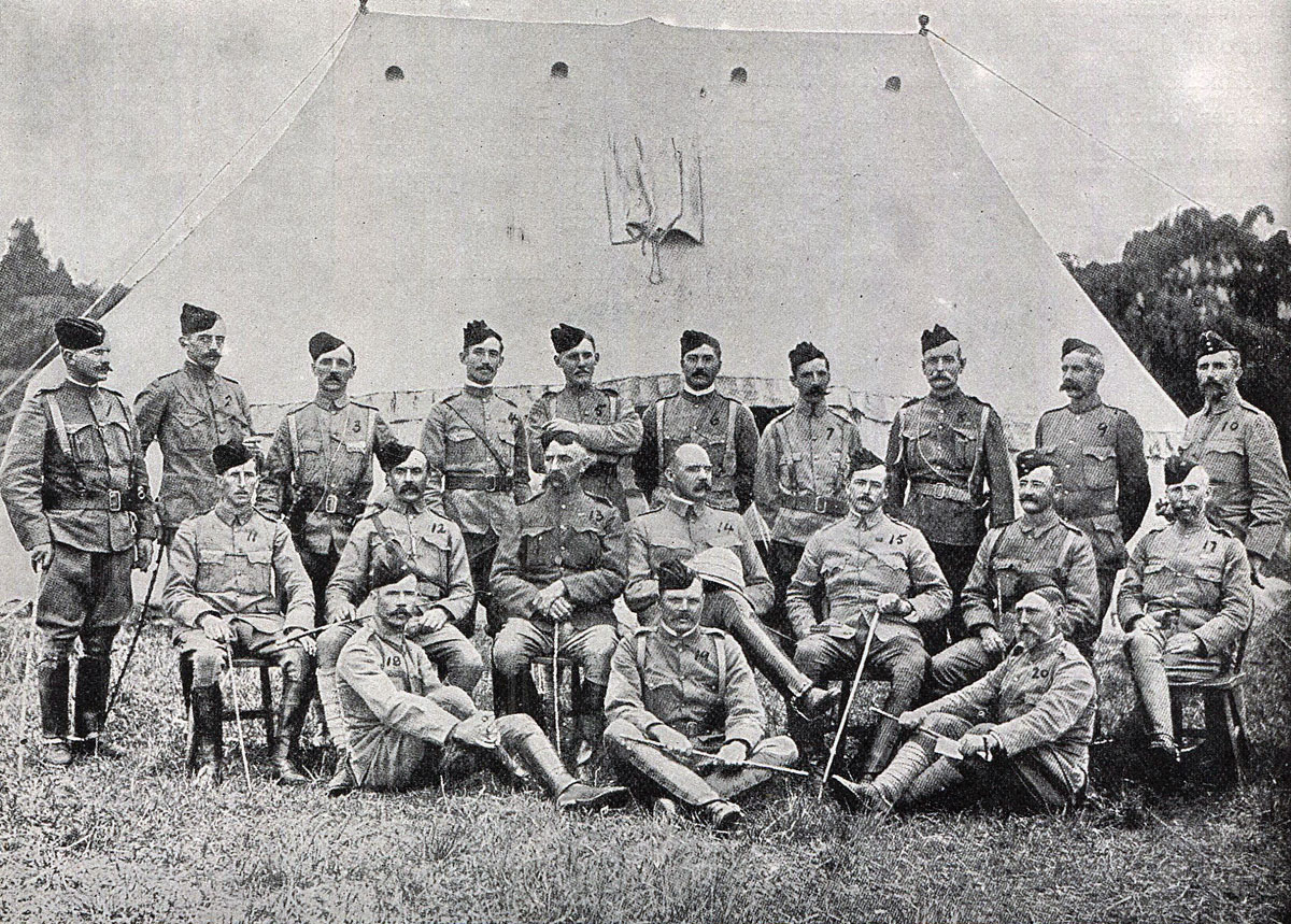 Officers of Thorneycroft's Mounted Infantry in South Africa: Battle of Spion Kop on 24th January 1900 in the Boer War