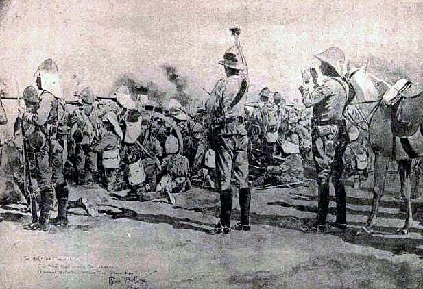 General Gatacre giving the signal to cease firing at the end of the Battle of Omdurman in 1898: Battle of Stormberg on 9th/10th December 1899 in the Boer War