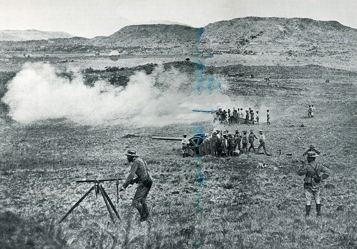 Royal Navy 4.7 inch guns firing at the Boer positions in the Battle of Val Krantz on 5th February 1900 in the Great Boer War
