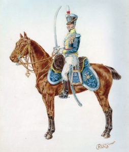 British 12th Light Dragoon in 1812 uniform: Battle of Villagarcia on 11th April 1812 in the Peninsular War: picture by Reginald Wymer