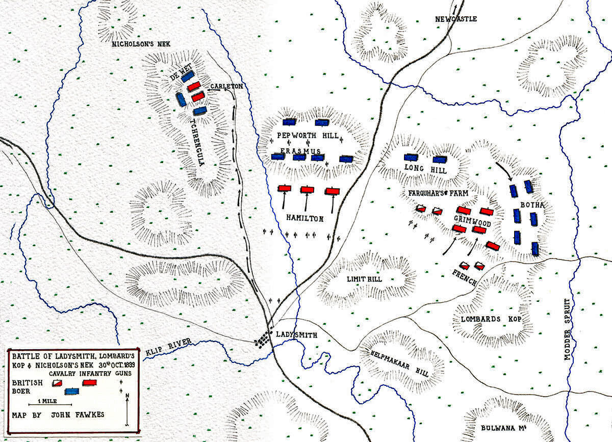 Map of the Battle of Ladysmith or Lombard's Nek on 30th October 1899 in the Boer War: map by John Fawkes