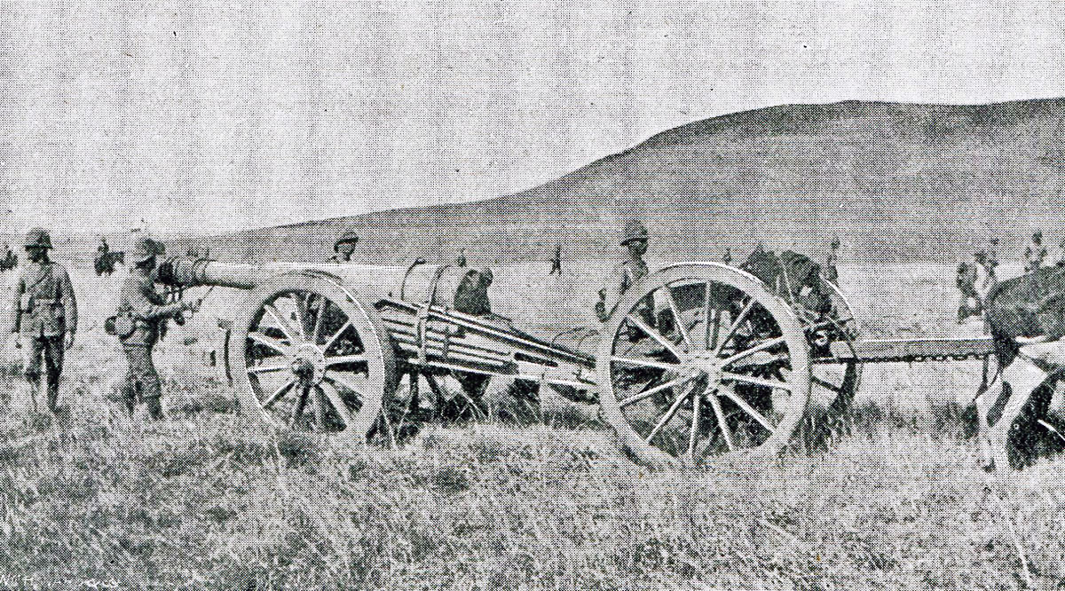 British ABritish Army 5 inch howitzer: Battle of Pieters, fought from 14th February 1900 in the Great Boer Warrmy 5 inch gun: Battles of Val Krantz and Pieters 5th to 28th February 1900 in the Boer War