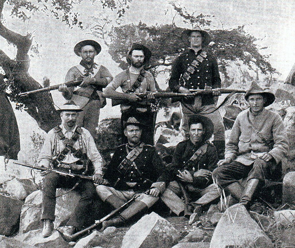 Boers with Mauser rifles bought from Germany: Battle of Magersfontein on 11th December 1899 in the Boer War