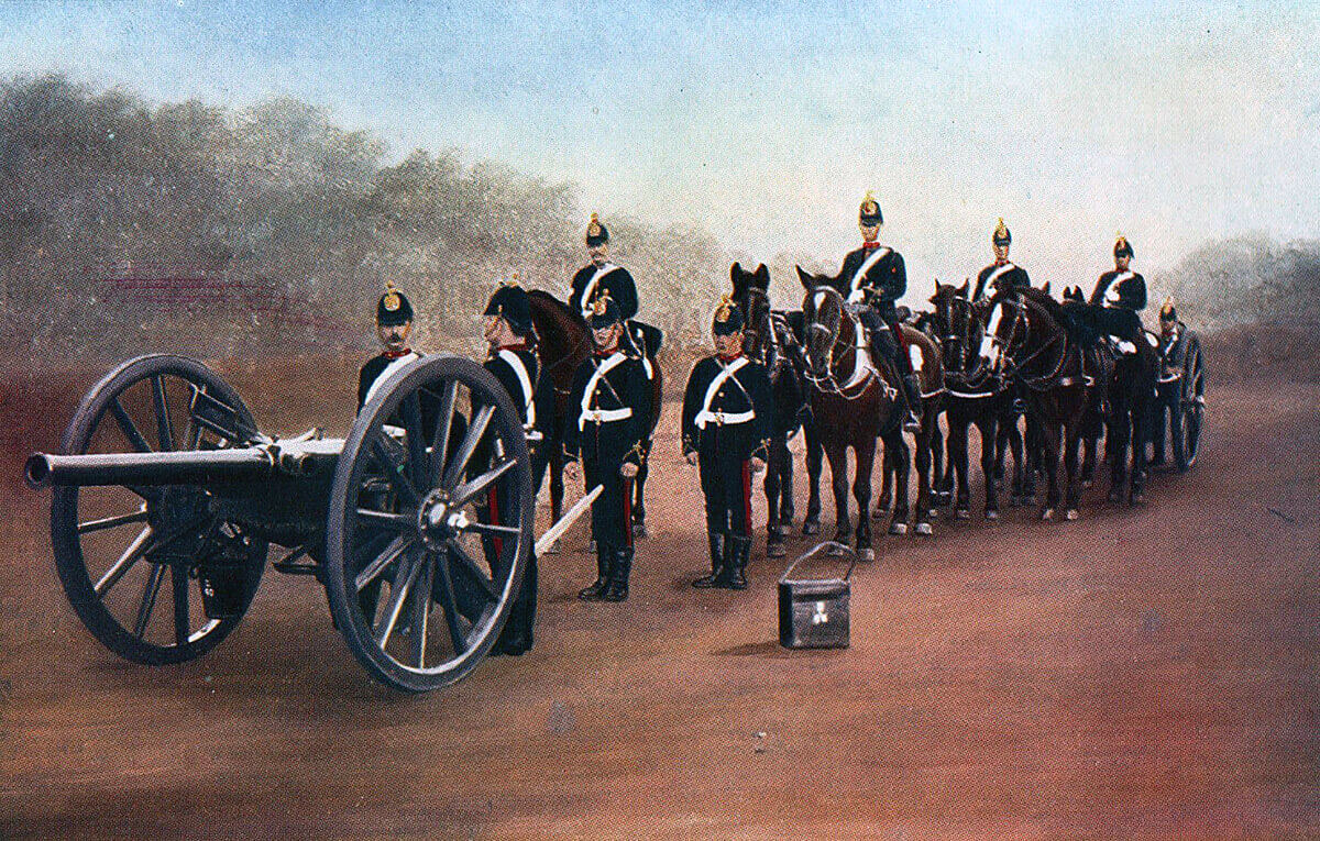 Royal Field Artillery 15 pounder gun team in Home Service uniform: Battle of Modder River on 28th November 1899 in the Boer War