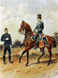 19th Prince of Wales' Hussars: Battle of Ladysmith or Lombard's Nek on 30th October 1899 in the Boer War: picture by Orlando Norie
