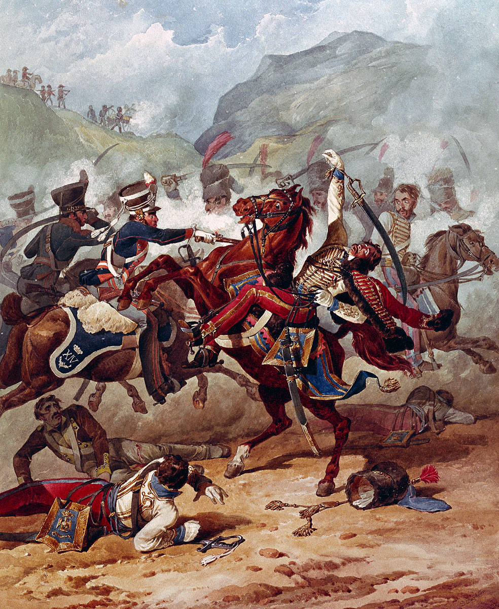 14th Light Dragoons attacking French Hussars: Battle of Villagarcia on 11th April 1812 in the Peninsular War: picture by Denis Dighton