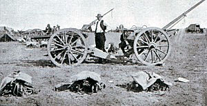 Boer gun at the Battle of Modder River on 28th November 1899 in the Boer War