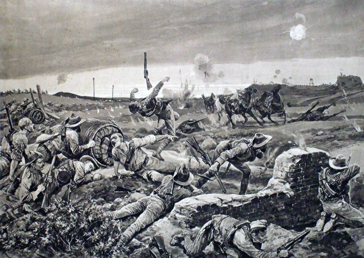 The Boer Attack: Siege of Mafeking 14th October 1899 to 16th May 1900 in the Great Boer War: picture by Richard Caton Woodville