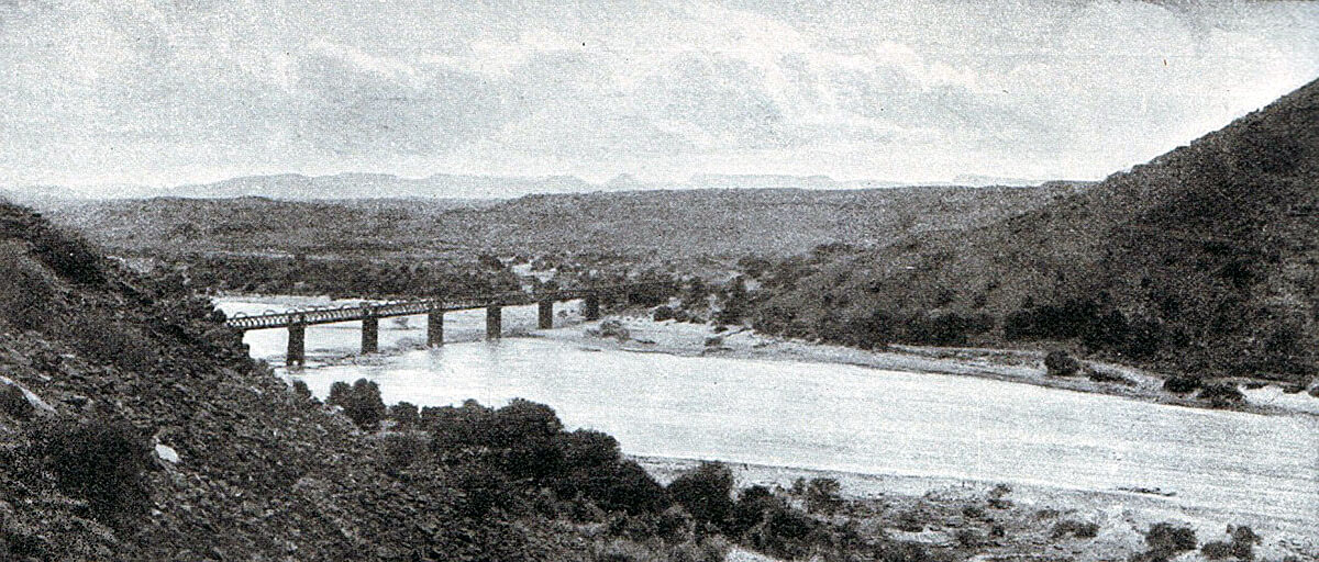 Orange River Railway Bridge where Lord Methuen's force crossed the river forming the border between Cape Colony and the Boer Orange Free State: Battles of Belmont on 23rd November 1899 in the Great Boer War