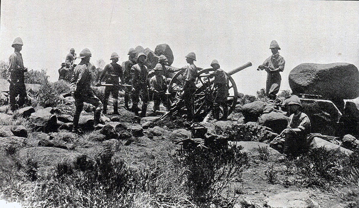 Royal Field Artillery 15 pounder in action: Battle of Paardeberg on 27th February 1900 in the Great Boer War