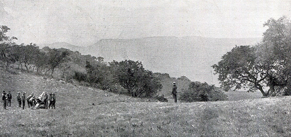 4.7 inchNaval gun firing at Boer positions during the Battle of Val Krantz on 5th February 1900 in the Great Boer War Naval gun firing at Val Krantz: Battles of Val Krantz and Pieters 5th to 28th February 1900 in the Boer War