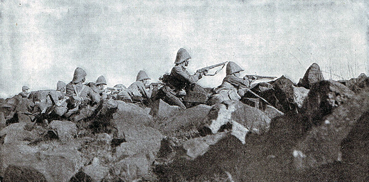 Devons on Pepworth Hill during the Battle of Ladysmith on 30th October 1899 in the Boer War