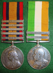 Queen's South Africa War medal and King's South Africa War medal awarded to Trooper Taylor of the 18th Hussars (Queen's medal has the clasp 'Talana')