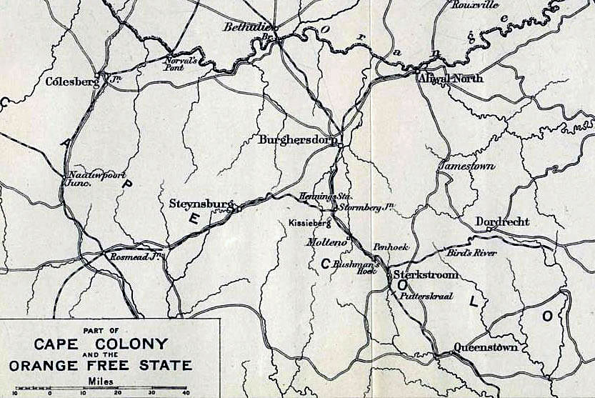 Map of the Eastern Cape and the area of operations leading to the Battle of Stormberg on 9th/10th December 1899 in the Boer War