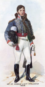 Officer of 16th Light Dragoons: Battle of Villagarcia on 11th April 1812 in the Peninsular War: picture by Richard Simkin