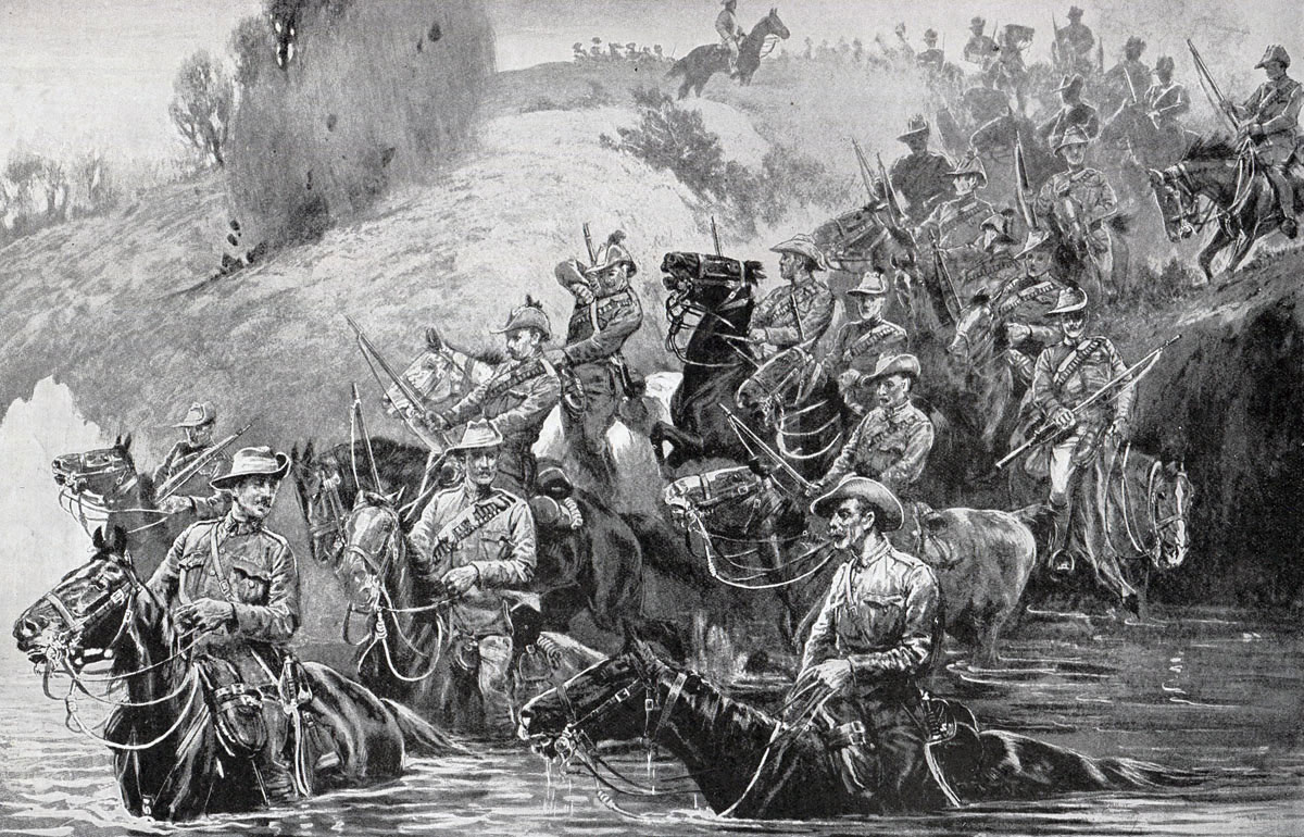 Colonials crossing a spruit under fire: Battle of Pieters, fought from 14th February 1900 in the Great Boer War: picture by John Charlton