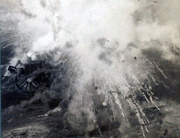 Photograph of a shell exploding in the Boer lines during the Battle of Paardeberg on 27th February 1900 in the Great Boer War