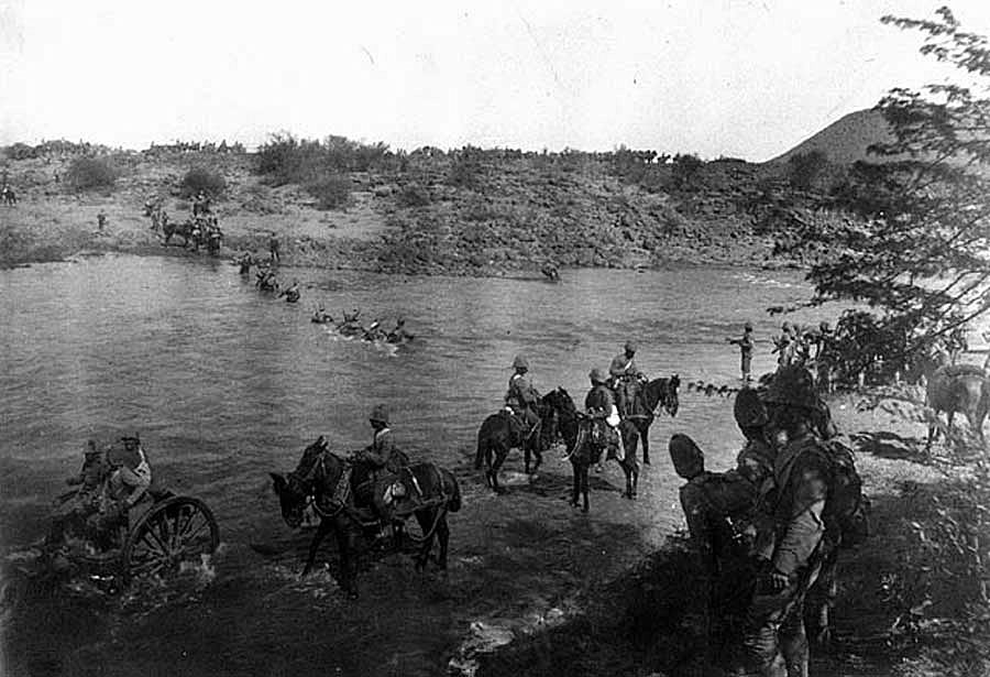 Royal Canadian Regiment crossing Paadeberg Drift during the the Battle of Paardeberg on 27th February 1900 in the Great Boer War