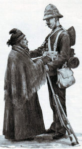 Sergeant of 1st Scots Guards saying 'Good Bye' to his mother before leaving for South Africa in 1899: Battles of Belmont and Graspan in November 1899 in the Boer War
