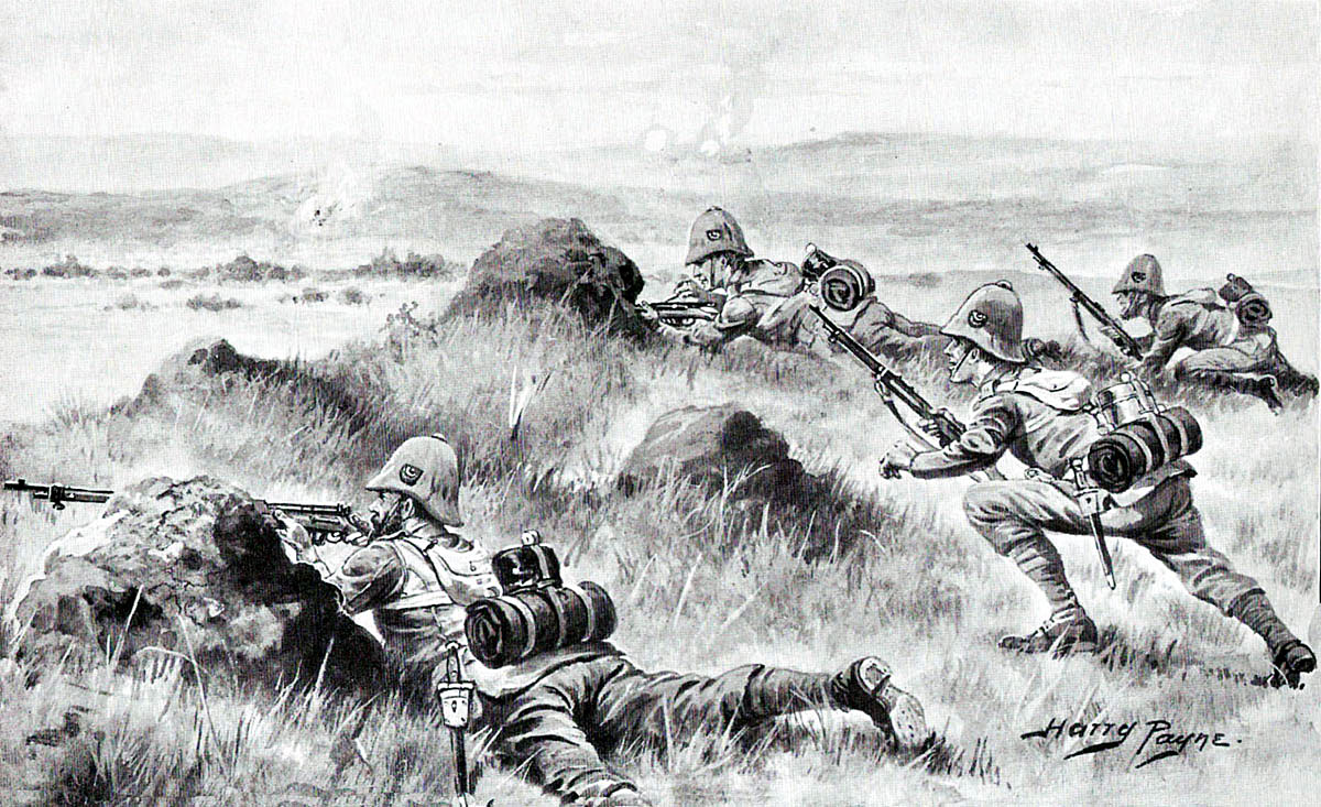 2nd King's Shropshire Light Infantry at the Battle of Paardeberg on 27th February 1900 in the Great Boer War: picture by Harry Payne