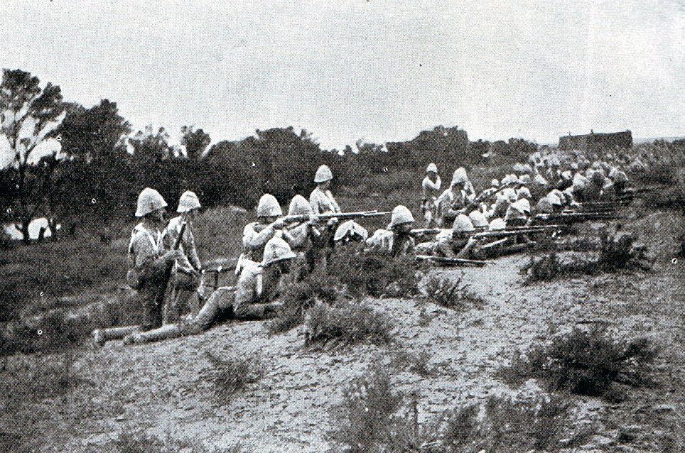 G Company 1st Scots Guards at the Battle of Modder River 28th November 1899 in the Boer War