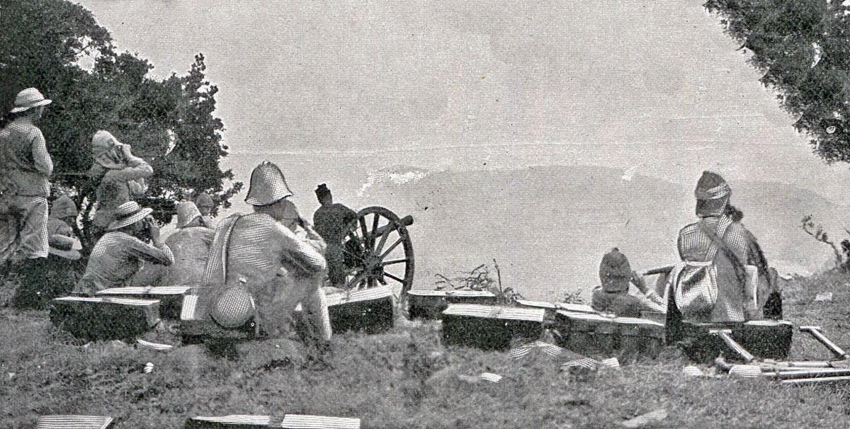 British guns firing on Val Krantz: Battle of Val Krantz 5th February 1900 in the Great Boer War
