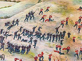 1st King's Royal Rifle Corps storming Talana Hill during the Battle of Talana Hill on 20th October 1899 in the Boer War