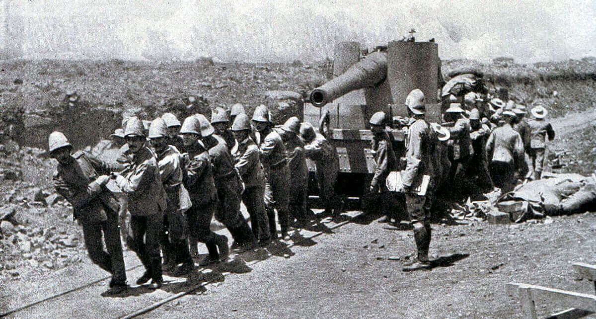 British troops hauling a gun up the railway line: Battle of Stormberg 9th/10th December 1899 in the Boer War