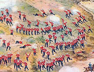 2nd Royal Dublin Fusiliers storming Talana Hill during the Battle of Talana Hill on 20th October 1899 in the Boer War