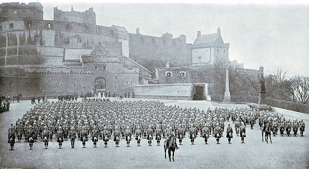 1st Gordon Highlanders parading outside Edinburgh Castle before leaving for South Africa in 1899. The Battalion fought at the Battle of Magersfontein on 11th December 1899 in the Boer War