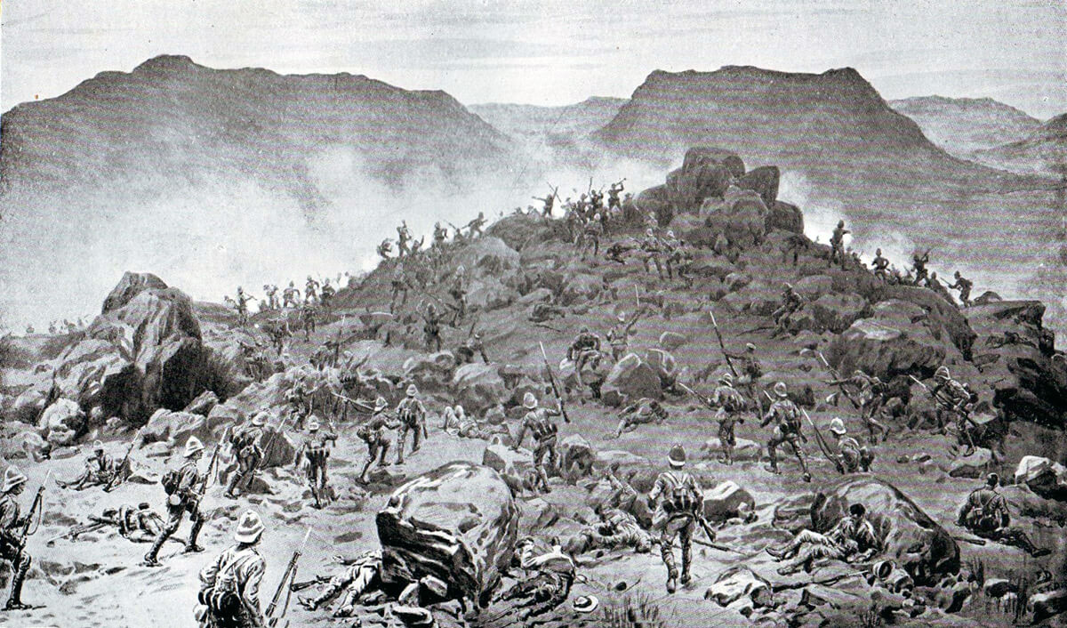 Grenadier and Scots Guards storming the Boer positions at the Battle of Belmont on 23rd November 1899 in the Great Boer War