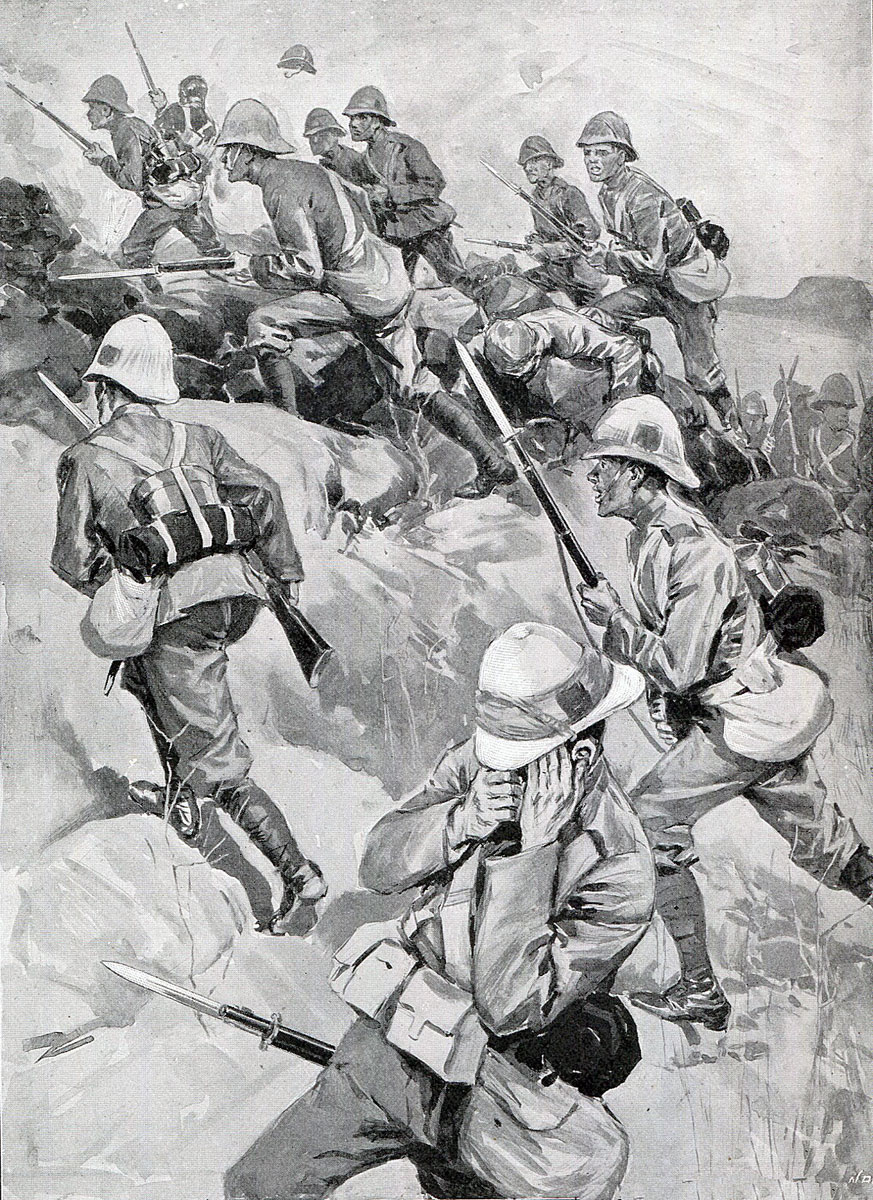 1st Durham Light Infantry attacking up Val Krantz: at the Battle of Val Krantz on 5th February 1900 in the Boer War: picture by Oscar Eckhardt