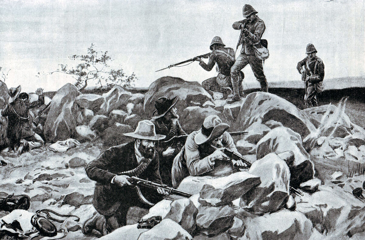Grenadier Guards storming the Boer positions at the Battle of Belmont on 23rdNovember 1899 in the Great Boer War: picture by Frank Dadd