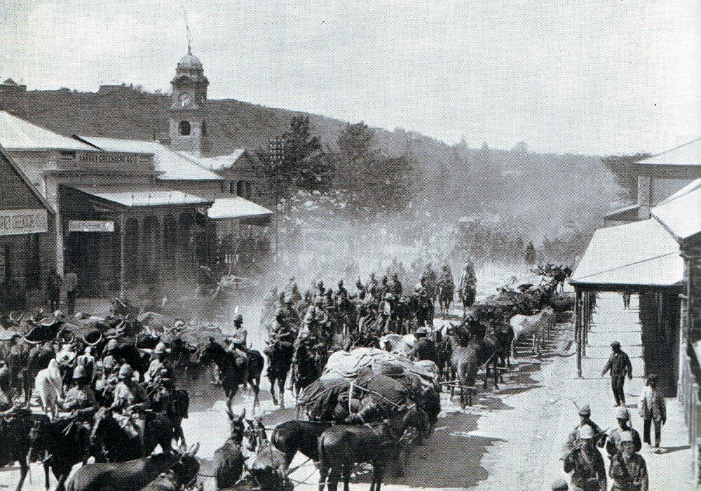 British troops arriving back in Ladysmith after the Battle of Ladysmith or Lombard's Kop on 30th October 1899 in the Boer War