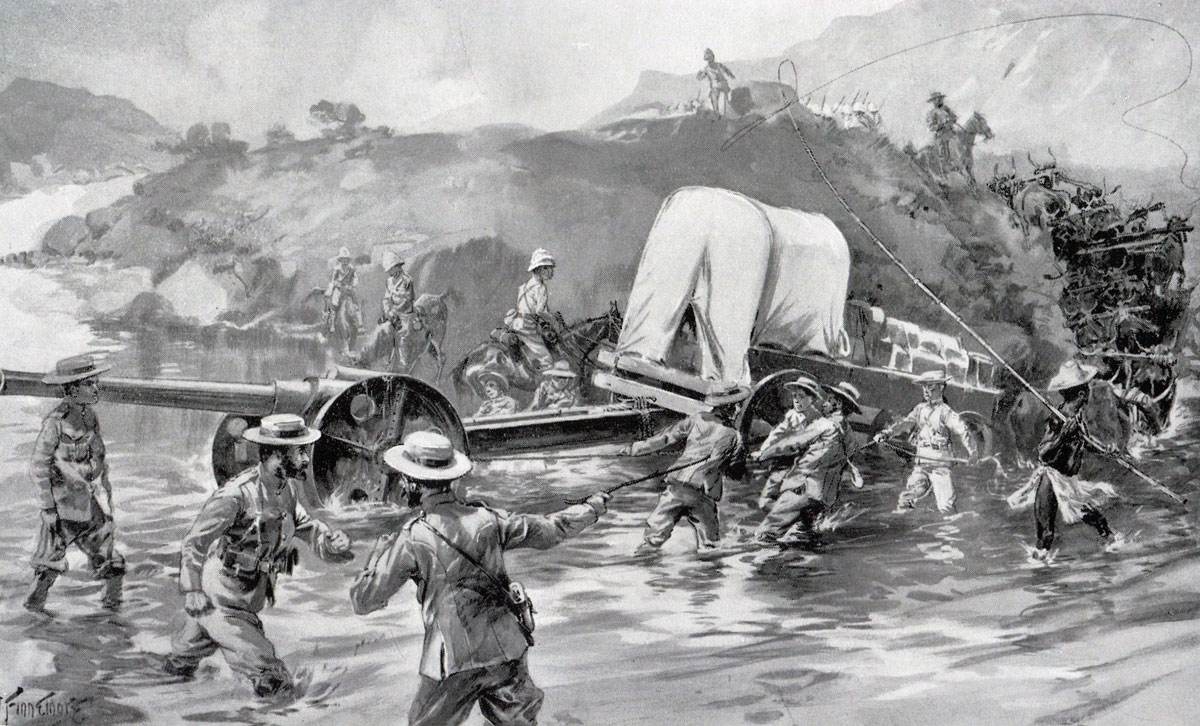 Naval 4.7 inch gun crossing a drift to begin the attack on Spion Kop: Battle of Spion Kop on 24th January 1900 in the Boer War: picture by Joseph Finnemore