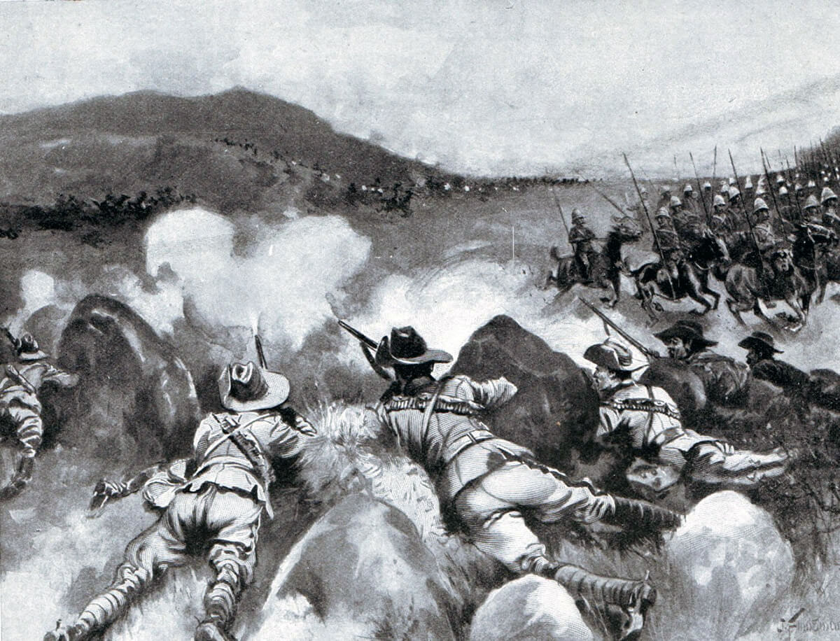 New South Wales Lancers covering the withdrawal of the 9th Lancers at the Battle of Belmont on 23rd November 1899 in the Great Boer War