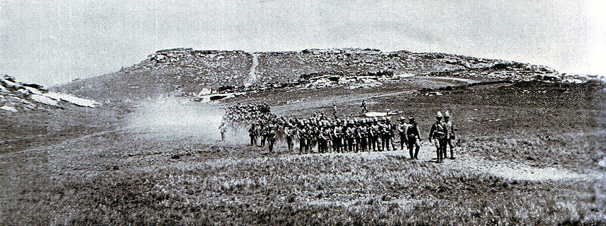Two companies of 2nd Royal Irish Rifles marching from Bushman's Hoek to join the train before the Battle of Stormberg on 9th December 1899 in the Boer War