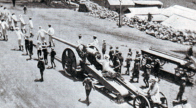 Royal Naval 4.7 inch gun on a field carriage: Battle of Ladysmith or Lombard's Kop on 30th October 1899 in the Boer War