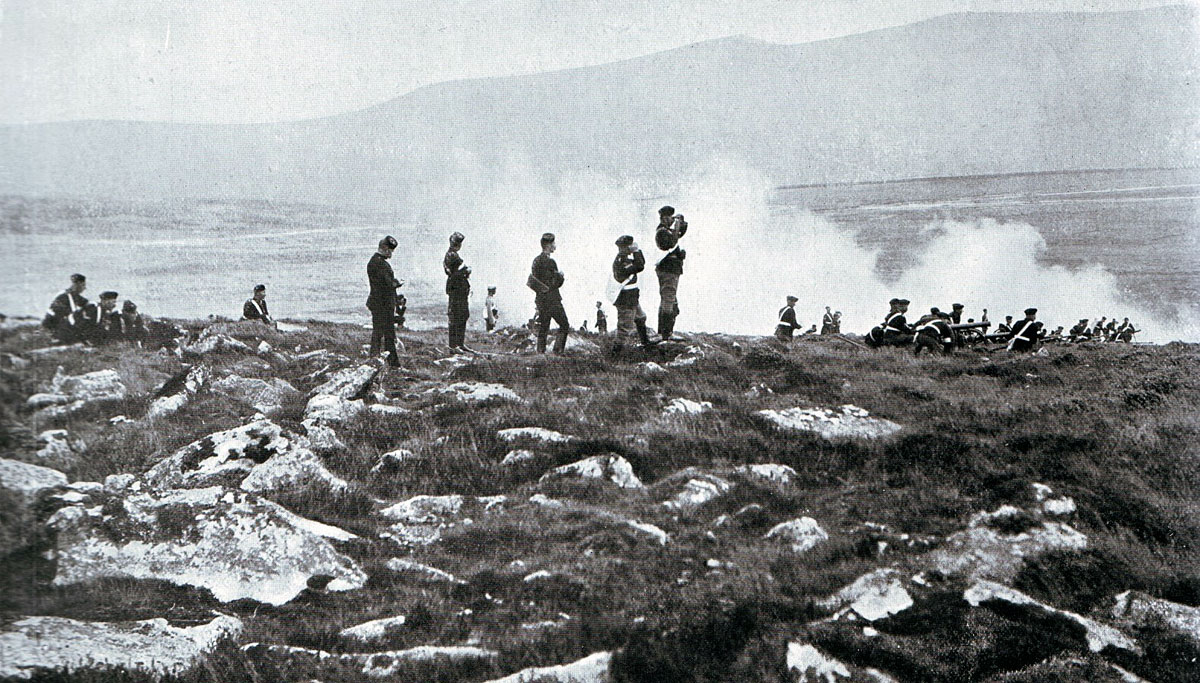 British Mountain Gun Battery in action: Battle of Spion Kop on 24th January 1900 in the Boer War