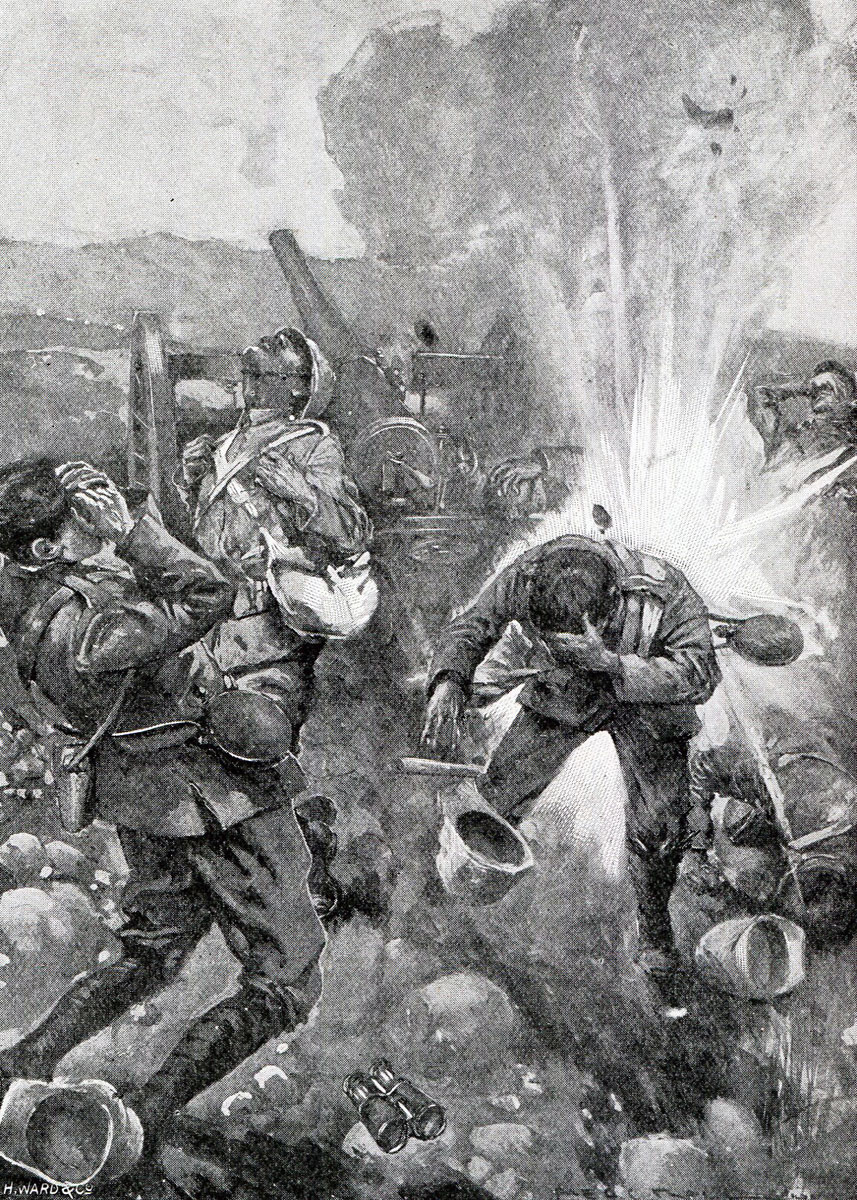British guns under fire at the Battle of Val Krantz on 5th February 1900 in the Great Boer War: picture by H. Ward